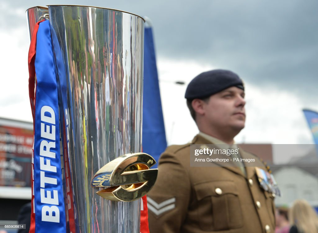 The Super league trophy on display day one of the Befred Super League Magic Weekend at St James' Park, Newcastle.