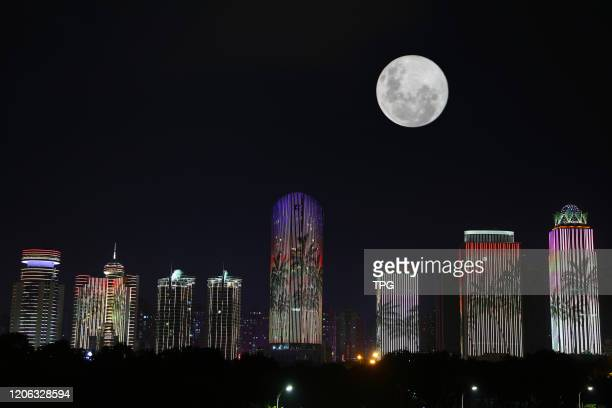 The super moon in the sky on 09th March, 2020 in Haikou,Hainan,China.