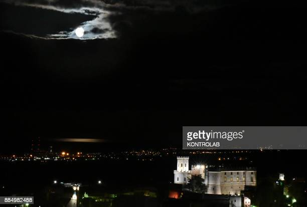 SUPERMOON The Super moon of 2017 the only moment in 2017 year when the moon looks much bigger Here it is seem above the Castle of Corigliano in...
