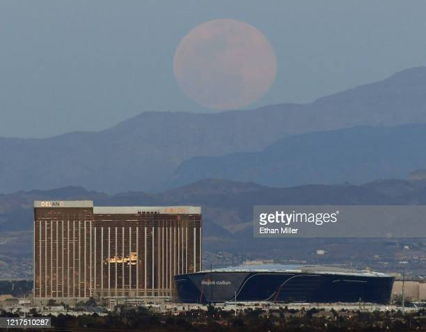 The super pink moon the biggest supermoon of the year rises over Delano Las Vegas at Mandalay Bay Resort and Casino Mandalay Bay Resort and Casino...