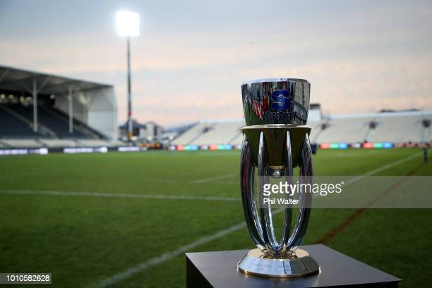 The Super Rugby Trophy is pictured before the Super Rugby Final match between the Crusaders and the Lions at AMI Stadium on August 4 2018 in...