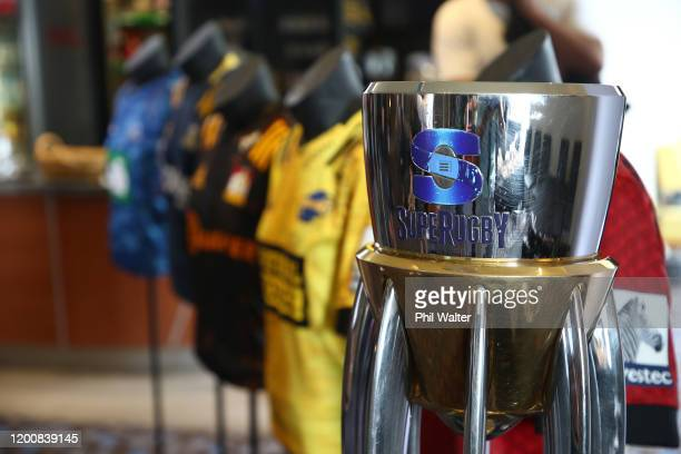 The Super Rugby Trophy is pictured during the 2020 Super Rugby Season Launch at Berkeley Mission Bay,on January 21, 2020 in Auckland, New Zealand.