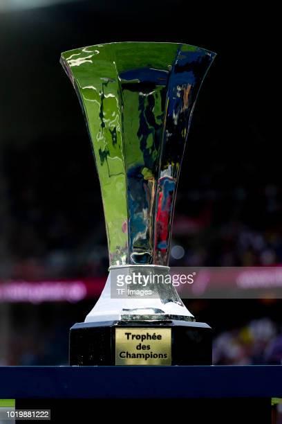 The Supercup trophee de champions sre seen during the Ligue 1 match between Paris Saint-Germain and SM Caen at Parc des Princes on August 12, 2018 in...