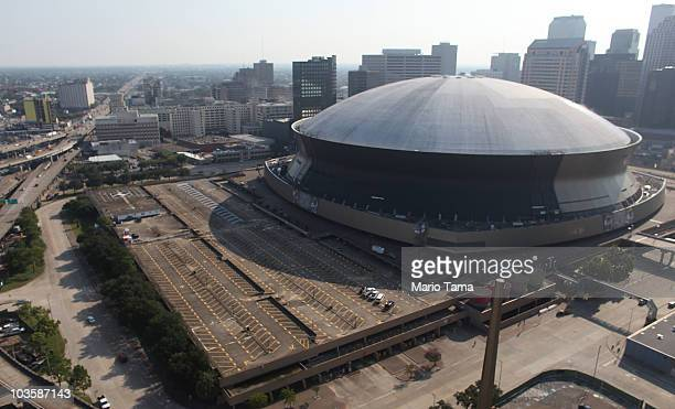 The Superdome is seen downtown in an aerial view on August 24, 2010 in New Orleans, Louisiana. The fifth anniversary of Hurricane Katrina is August...