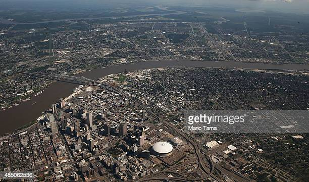 The Superdome stands downtown in an aerial view on August 23 2015 in New Orleans Louisiana The tenth anniversary of Hurricane Katrina which killed at...