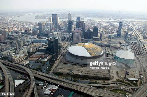 The Superdome where thousands of people stayed while waiting to be evacuated after Hurricane Katrina hit is seen September 11 2005 in downtown New...