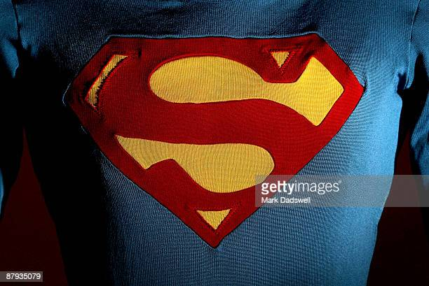 The Superman costume as worn by Christopher Reeve in Superman III is displayed at the Auction House of Bonhams and Goodman on May 23 2009 in...