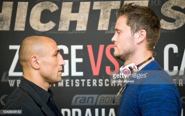 The SuperMiddleWeight Boxer Arthur Abraham and the Norwegian TimRobin Lihaug stand next to each other after a press conference in Berlin Germany 01...