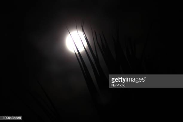 The Supermoon are seen on the sky of Bekasi regency West Java province on April 8 2020 The Supermoon occurs when the moon reaches its closets points...