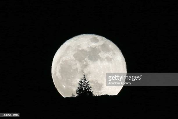 The supermoon of 2018 is seen in Kayseri Turkey on January 02 2018 A supermoon is a full moon or a new moon that approximately coincides with the...