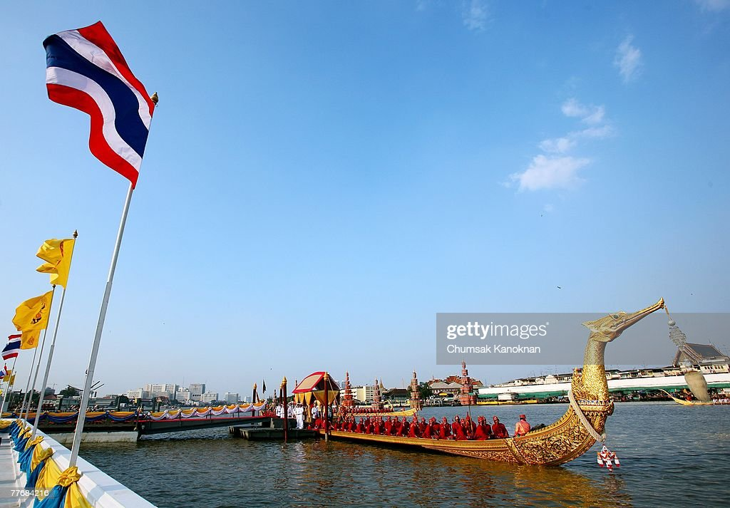 The Suphannahongsa barge carrying Thai Crown Prince Vajiralongkorn arrives to Wat Arun (Temple of Dawn) during the Royal celebrations on November 5, 2007, in Bangkok, Thailand. Thailand's magestic royal barge procession, held to celebrate King Bhumibol Adulyadej's coming 80th birthday, swept along the Chao Phraya river without him. King Bhumipol, The world longest reigning monarch, has been in hospital since October 13 after suffering a blood clot in his brain.