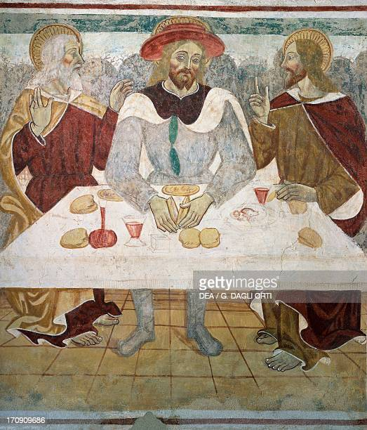 The supper with the disciples of Emmaus 15th16th century detail from the Biblia Pauperum fresco attributed to Cagnola or Cagnoli Workshop Church of...