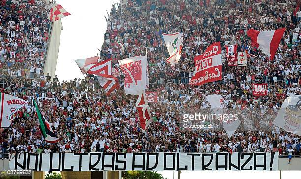 The supporters of AS Bari during the Serie A match between Bari and Juventus at Stadio San Nicola on August 29 2010 in Bari Italy