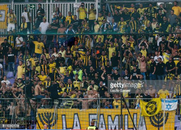 The supporters of Beitar Jerusalem wait for the kick-off prior to the UEFA Europa League First Qualifying Round 2nd leg match between Vasas FC and...
