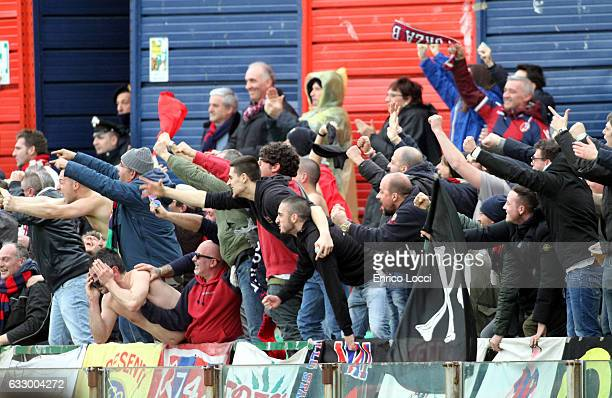 The supporters of Bologna during the Serie A match between Cagliari Calcio and Bologna FC at Stadio Sant'Elia on January 29 2017 in Cagliari Italy