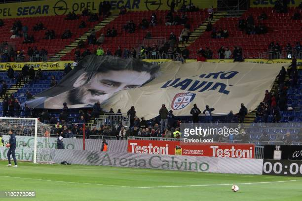 The supporters of Cagliari during the Serie A match between Cagliari and ACF Fiorentina at Sardegna Arena on March 15 2019 in Cagliari Italy