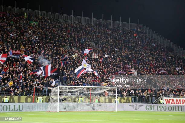 The supporters of Cagliari during the Serie A match between Cagliari and Juventus at Sardegna Arena on April 2 2019 in Cagliari Italy