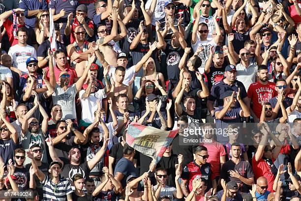 the supporters of Cagliari during the Serie A match between Cagliari Calcio and ACF Fiorentina at Stadio Sant'Elia on October 23 2016 in Cagliari...