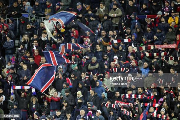 The supporters of Cagliari during the serie A match between Cagliari Calcio and AC Milan at Stadio Sant'Elia on January 21 2018 in Cagliari Italy