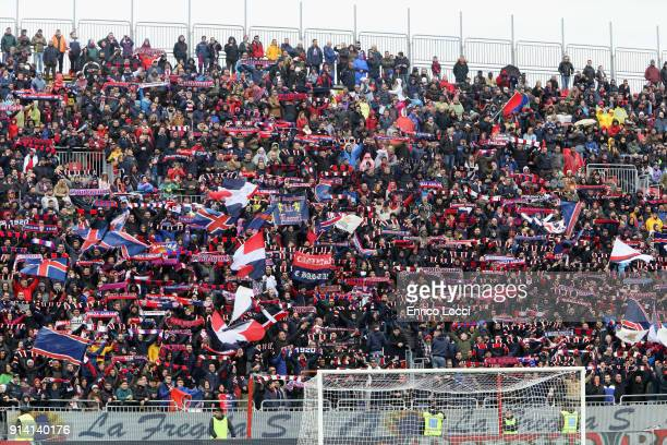 the supporters of Cagliari during the serie A match between Cagliari Calcio and Spal at Stadio Sant'Elia on February 4 2018 in Cagliari Italy