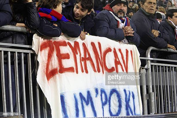 the supporters of Cagliari hold up a banner during the Serie A match between Cagliari Calcio and Empoli FC at Stadio Sant'Elia on March 14 2015 in...