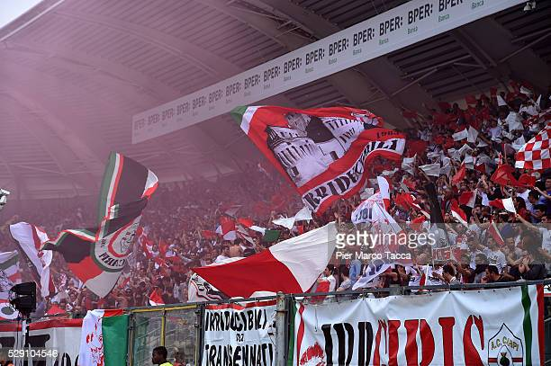 The supporters of Carpi FC waving flagsduring the Serie A match between Carpi FC and SS Lazio at Alberto Braglia Stadium on May 8, 2016 in Modena,...