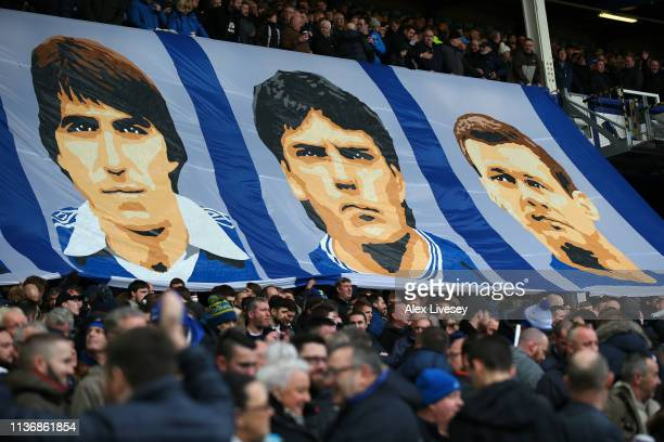 The supporters of Everton FC display a banner prior to the Premier League match between Everton FC and Chelsea FC at Goodison Park on March 17 2019...