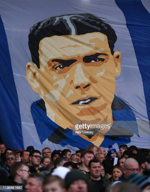 The supporters of Everton FC display a banner showing Dixie Dean prior to the Premier League match between Everton FC and Chelsea FC at Goodison Park...