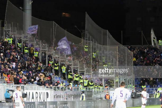 the supporters of Fiorentina during the Serie A match between Cagliari and ACF Fiorentina at Sardegna Arena on March 15 2019 in Cagliari Italy