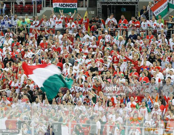 The supporters of Hungary celebrate the victory over Italy during the 2018 IIHF Ice Hockey World Championship Division I Group A match between Italy...