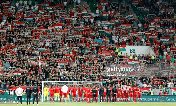 The supporters of Hungary sing the national anthem with the team of Hungary after the FIFA 2018 World Cup Qualifier match between Hungary and Latvia...