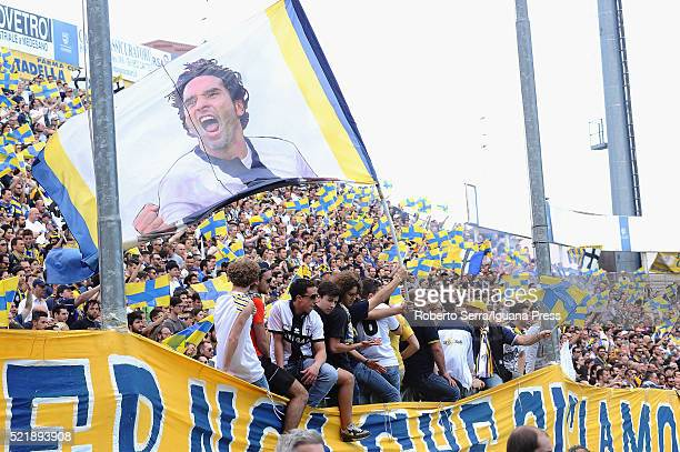 The supporters of Parma celebrates durnig the Serie D match between Parma Calcio 1913 and Delta Rovigo at Stadio Tardini on April 17 2016 in Parma...