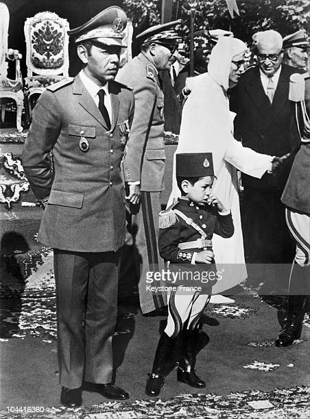 II the supreme commander of Morocco's armed forces and head of the general staff and his son the crown prince SIDI MOHAMMED during the celebrations...