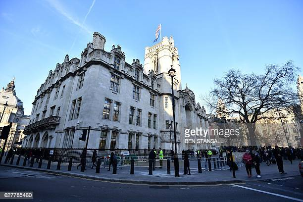 The Supreme court building in London on the first day of a fourday hearing on December 5 2016 The government of Prime Minister Theresa May will today...