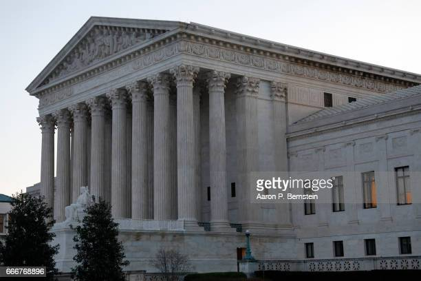 The Supreme Court is seen in the early hours of April 10 2017 in Washington DC Neil Gorsuch is expected to be sworn in as an Associate Justice today...