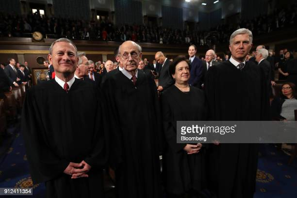 The Supreme Court Justices from left Chief Justice John Roberts Stephen Breyer Elena Kagan and Neil Gorsuch associate justice of the Supreme Court...