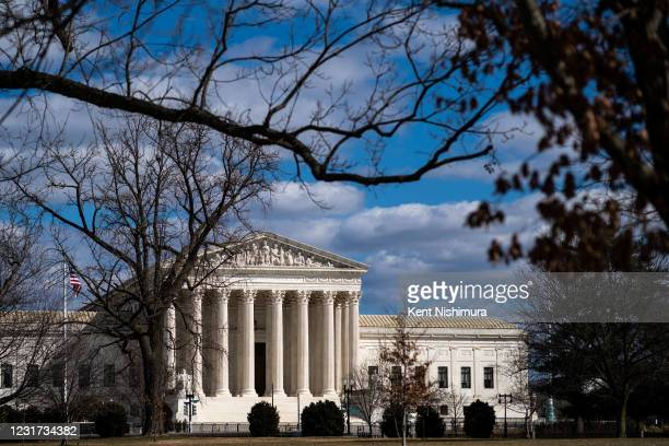 The Supreme Court of the United States is seen from across the Capitol Complex on Saturday, March 6, 2021 in Washington, DC. The Senate passed a...