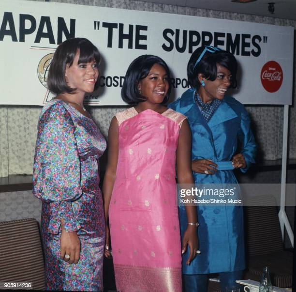 The Supremes at press conference in a hotel August 1966 Tokyo Japan Diana Ross Mary Wilson Florence Ballard