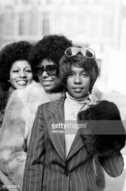 The Supremes left to right Lynda Lawrence Jean Terrell and Mary Wilson outside the Mayfair Hotel 11th March 1973