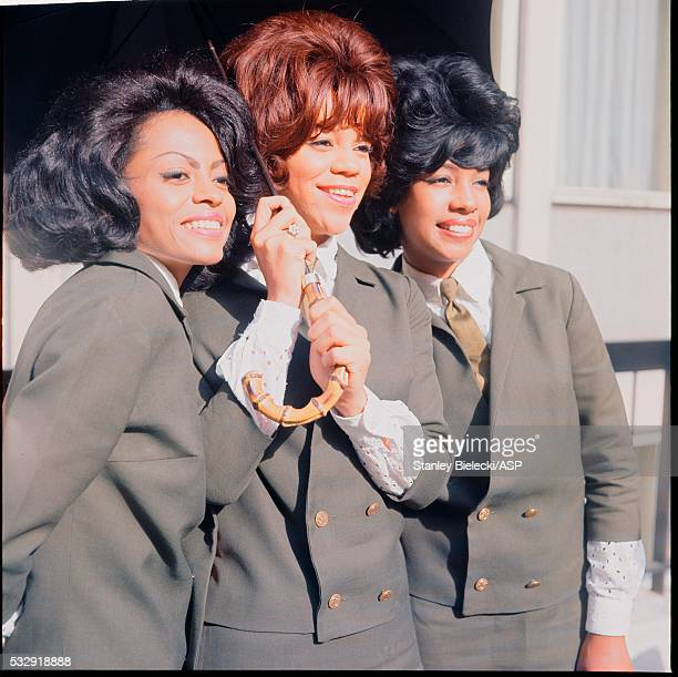The Supremes pose for a group portrait outside the offices of EMI Manchester Square London 1964 LR Diana Ross Florence Ballard Mary Wilson