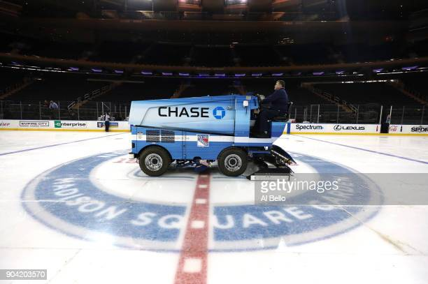 The surface at Madison Square Garden is converted from a basketball floor to an Ice Hockey rink on December 9 2017 in New York City The...