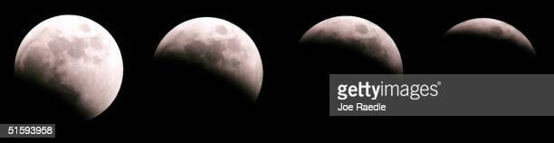 The surface of the moon is seen in this multiple exposure combination photo illustration during a total eclipse caused by the earth's shadow October...