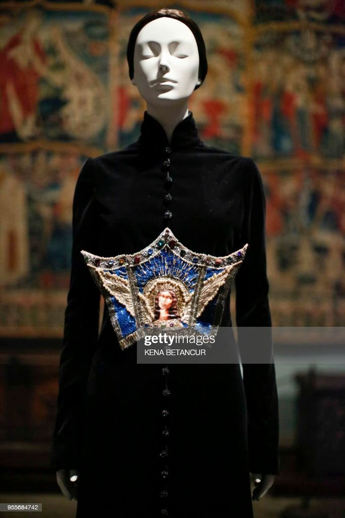 The Surprise de L'icine Dress Autumn/Winter by Jean Paul Gautier is exhibited during the press preview for the annual fashion exhibition 'Heavenly Bodies: Fashion and the Catholic Imagination' at The Metropolitan Museum of art on May 7, 2018 in New York.
