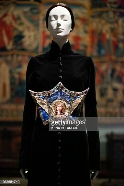 The Surprise de L'icine Dress Autumn/Winter by Jean Paul Gautier is exhibited during the press preview for the annual fashion exhibition Heavenly...