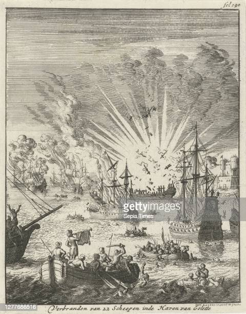 The surprise of three Portuguese galleons in the Bay of Goa, September 30, 1639 Burning of 22 Ships in the Port of Golette , Print upper right...