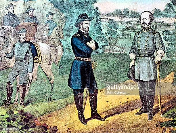 The surrender of Confederate forces in North Carolina American Civil War 1865 Union General William Tecumseh Sherman meeting Confederate General...
