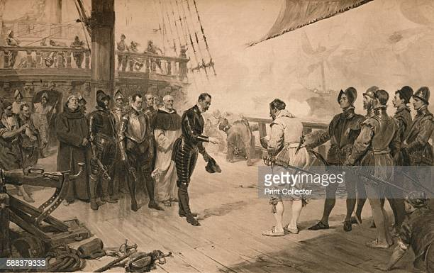 The surrender of Don Anton to Sir Francis Drake 1 March 1579 Drake`s capture of a Spanish treasure ship off South America From Cassell's History of...