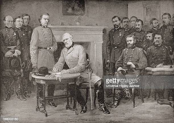 The Surrender Of General Lee To General Grant At Appomattox Courthouse Virginia America In 1865 Thereby Ending The American Civil War From Famous Men...