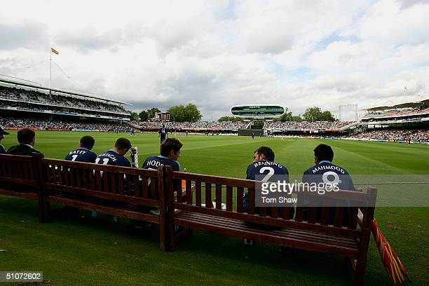 The Surrey Batsmen wait to bat on the edge of the pitch during the Middlesex v Surrey Twenty20 Cup match at Lords on July 15 2004 in London England