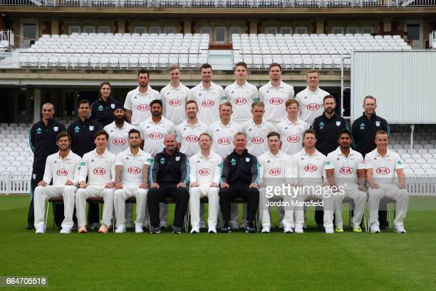 The Surrey CCC team and coaching staff pose during the Surrey CCC Photocall at The Kia Oval on April 4 2017 in London England